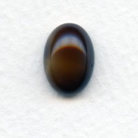 Brown Horn 14x10mm Glass Cabs