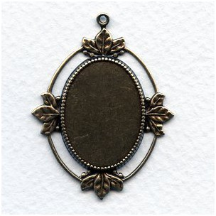 Floating Leaves Settings 25x18mm Oxidized Brass (3)