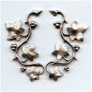 Vines with Berries Oxidized Silver 57mm (1 set)