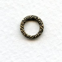 Scroll Edge Round 9.5mm Connector Ring Oxidized Brass (12)