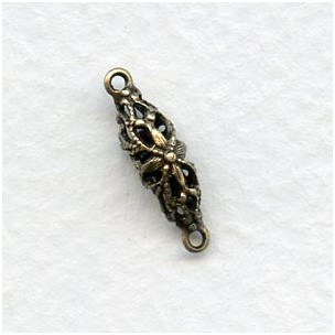 Filigree Connector Oval Bead 17mm Oxidized Brass (6)