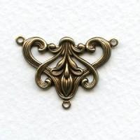 Art Nouveau Style Floral Connector Oxidized Brass (6)