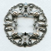 Filigree Frame Stamping Oxidized Silver 48mm
