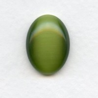Cat's Eye Effect Olivine Glass Cabochons 20x15mm