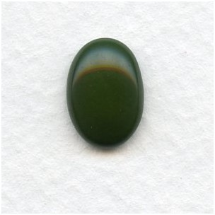 ^Forest Green 14x10mm German Glass Cabs