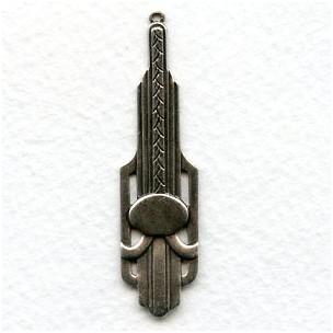 Dramatic Art Deco Oxidized Silver Pendant Drops (2)