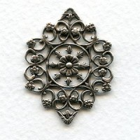 Openwork Filigree Floral Details Oxidized Silver 29mm (2)