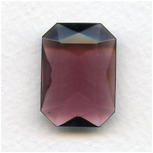 Amethyst Glass Octagon Unfoiled Glass Stone 25x18mm