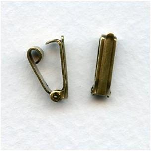 Vintage Style Oxidized Brass Foldover Clasps (12)