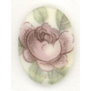 ^Pink Rosebud Cabochon 18x13mm Very Victorian Theme