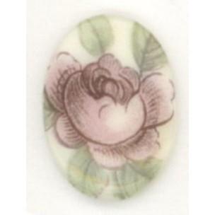 Pink Rosebud Cabochon 18x13mm Very Victorian Theme ^