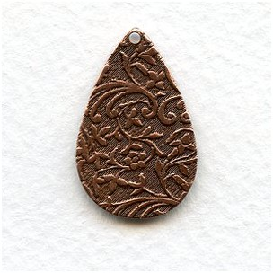 Floral Patterned Drops Oxidized Copper 27mm (6)