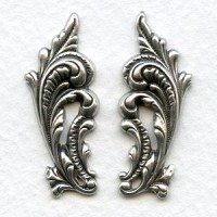 Ornate Leaves 33mm Flourishes Oxidized Silver (1 set)