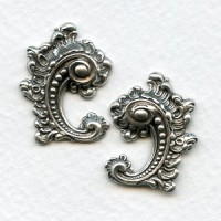 Victorian Details Right Left Flourishes Oxidized Silver
