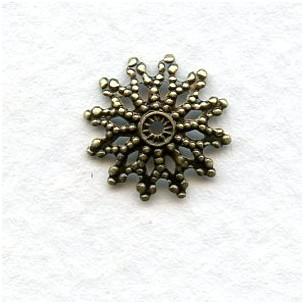 Filigree Flat Bead Caps 12mm Oxidized Brass (24)