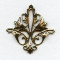 Fleur-de-lys Openwork Oxidized Brass Stamping (1)