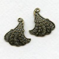 European Filigrees Oxidized Brass Fancy Leaves 22mm
