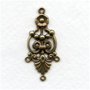 Ornate 3 Strand Connector Oxidized Brass (12)