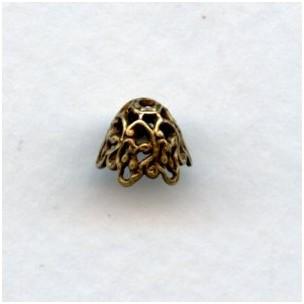 Elaborate Cone Filigree Bead Caps Oxidized Brass (6)