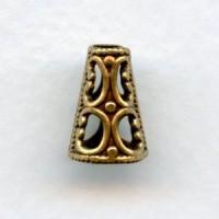 Cone Shape Filigree Bead Cap Oxidized Brass (6)