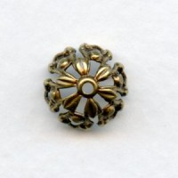 Openwork Bead Caps for Round 11mm Beads Oxidized Brass (6)