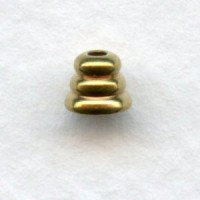 Beehive Spacer Bead Caps 3x4mm Solid Brass (24)