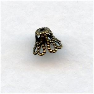 Bell Shape Filigree Bead Caps Oxidized Brass 7mm (50)