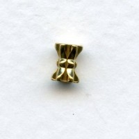 Hour Glass Shape Solid Raw Brass Spacer Beads 3x6mm (24)