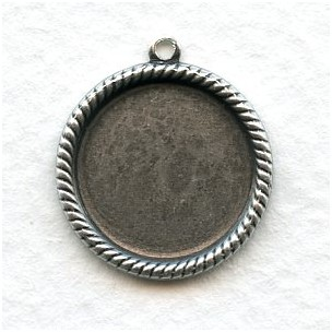 Rope Edge Settings 15mm Oxidized Silver (6)