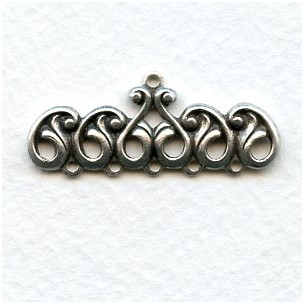 Ornate 5 Strand Connector End Bars Oxidized Silver (2)