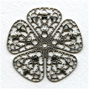 Filigree Flower Shape 45mm Oxidized Silver (1)