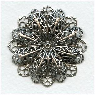 Double Filigree Flower 47mm Oxidized Silver (1)