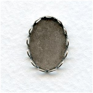 Lace Edge Settings 18x13mm Oxidized Silver (12)