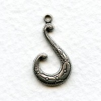 Tendril Hook Stampings Oxidized Silver 22mm (6)