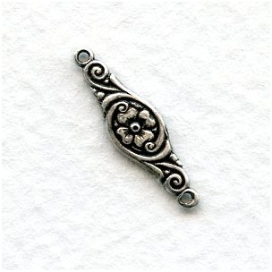 Jewelry Connectors Lovely Floral Oxidized Silver (12)