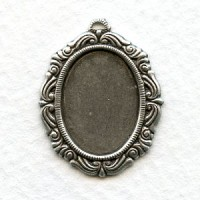 Ornate Detailed Setting 18x13mm Oxidized Silver (6)