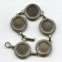 Bracelet Finding 15mm Settings Oxidized Silver (1)