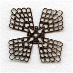 ^Elegant Flat Setting Filigrees 38mm Oxidized Copper