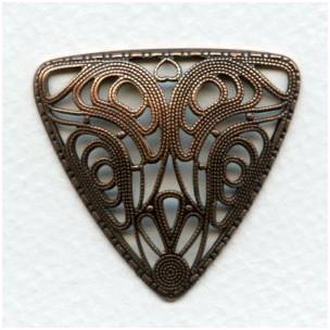 Domed Filigree Triangle Oxidized Copper 37mm (1)