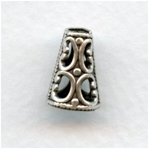 Cone Shape Filigree Bead Cap or Spacer Oxidized Silver (6)
