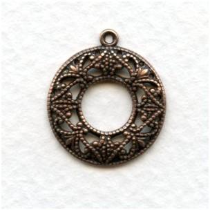 Filigree Round Feminine Hoops Oxidized Copper (12)