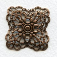 ^Filigree Squares Great Size 31mm Oxidized Copper (3)