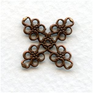 ^Four Point Oxidized Copper Filigrees 16mm (12)