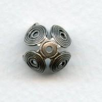 Grand Filigree Petals 13mm Bead Cap Oxidized Silver (6)