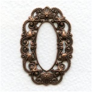 Filigree Oval Frames Oxidized Copper 44x30mm