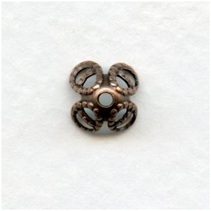 Filigree Bead Caps for 8mm Beads Oxidized Copper (24)