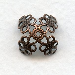 Fancy Filigree Large Bead Caps Oxidized Copper 15mm (12)