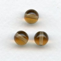 Smooth European Druk Glass Beads Smoked Topaz 8mm