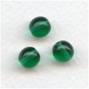 Smooth European Glass Druk Beads Emerald 8mm (24)