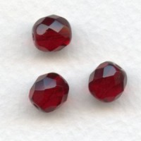 Garnet Fire Polished Round Faceted Beads 8mm